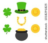 saint patrick's day. gold coins ... | Shutterstock .eps vector #1018291825