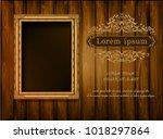 beautiful golden frame placed... | Shutterstock .eps vector #1018297864
