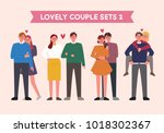 lovely couple character set.... | Shutterstock .eps vector #1018302367