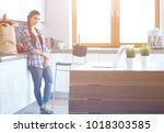 portrait of young woman... | Shutterstock . vector #1018303585