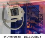 cctv camera with double... | Shutterstock . vector #1018305835