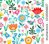cute floral pattern  seamless... | Shutterstock .eps vector #1018306837
