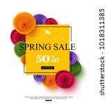 spring sale banner template... | Shutterstock .eps vector #1018311385