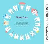 cartoon cute tooth banner card... | Shutterstock .eps vector #1018311571