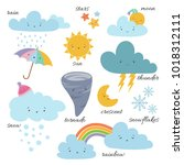 cute cartoon weather icons.... | Shutterstock .eps vector #1018312111