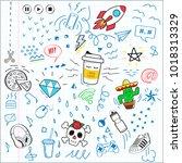 doodle sketch letter pattern.... | Shutterstock .eps vector #1018313329