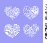 set of four doodle hand drawn... | Shutterstock . vector #1018316611