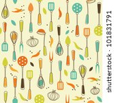 Seamless Pattern Of Kitchen...