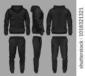 black man sportswear hoodie and ... | Shutterstock .eps vector #1018321321