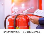 engineer checking industrial... | Shutterstock . vector #1018323961