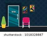 waiting room for patients in...   Shutterstock .eps vector #1018328887