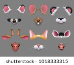 cute animal ears and nose video ... | Shutterstock .eps vector #1018333315
