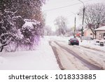 snowstorm  blizzard. cold... | Shutterstock . vector #1018333885