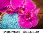 spa sea salt for bath. natural... | Shutterstock . vector #1018338685