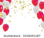 red white balloons  confetti...   Shutterstock .eps vector #1018341187