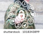 soldier using virtual... | Shutterstock . vector #1018343899