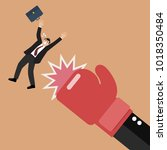 businessman punched by his boss ... | Shutterstock .eps vector #1018350484