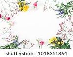 flowers composition. frame made ...   Shutterstock . vector #1018351864