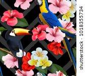 seamless summer tropical... | Shutterstock .eps vector #1018355734
