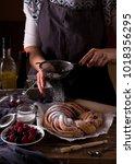 woman baking delicious tasty... | Shutterstock . vector #1018356295