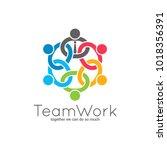 teamwork chain logo. business... | Shutterstock .eps vector #1018356391