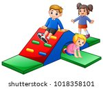 happy kids playing in the... | Shutterstock .eps vector #1018358101