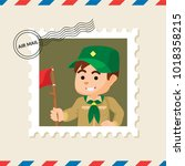 boy scout postage stamp on air... | Shutterstock .eps vector #1018358215