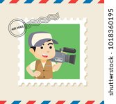 cameraman postage stamp on air... | Shutterstock .eps vector #1018360195