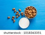 dairy alternative milk. almond... | Shutterstock . vector #1018363351