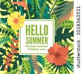 summer hawaiian tropical poster ... | Shutterstock .eps vector #1018363531