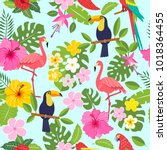 seamless pattern with toucan ... | Shutterstock .eps vector #1018364455