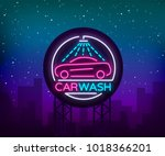 car wash logo design emblem in... | Shutterstock .eps vector #1018366201