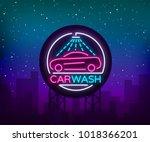 car wash logo design emblem in... | Shutterstock .eps vector #1018366201