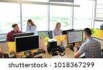 team working in office. monitor ... | Shutterstock . vector #1018367299