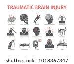 traumatic brain injury flat...   Shutterstock .eps vector #1018367347