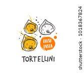 tortellini pasta. italian... | Shutterstock .eps vector #1018367824