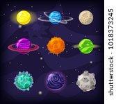 set of fantastic planets on... | Shutterstock .eps vector #1018373245