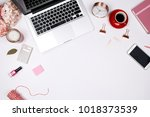 feminine desk workspace frame... | Shutterstock . vector #1018373539