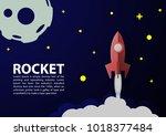 rocket paper art vector and... | Shutterstock .eps vector #1018377484