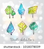 doodle sketch trees on white... | Shutterstock .eps vector #1018378039