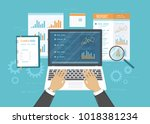 concept of accounting  analysis ... | Shutterstock .eps vector #1018381234