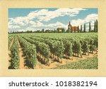 hand drawn landscape. antique... | Shutterstock . vector #1018382194