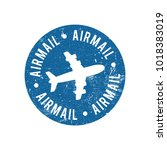 airmail rubber stamp | Shutterstock .eps vector #1018383019