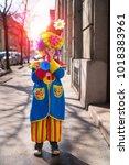 little boy dressed as a clown. | Shutterstock . vector #1018383961
