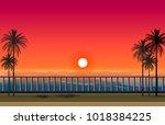 beautiful sunset sea scenery... | Shutterstock .eps vector #1018384225