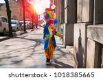little boy dressed as a clown. | Shutterstock . vector #1018385665