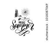 hand lettering hello summer.... | Shutterstock .eps vector #1018387069