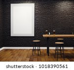 contemporary black brick pub or ... | Shutterstock . vector #1018390561