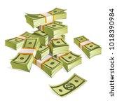 set of money. packing in... | Shutterstock .eps vector #1018390984