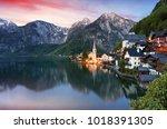 beautiful summer alpine... | Shutterstock . vector #1018391305